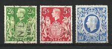 GB KGVI 1939 2/6 Green, 5/- Red & 10/- Ultramarine, Used