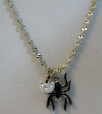 NWOT Black Spider Pendant, 17 inch twisted silver chain, Free Shipping