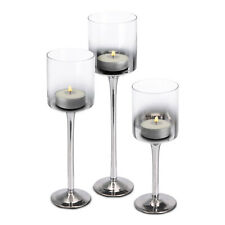 Set 3 Tall Silver Glass Candle Holders Large Centrepiece Tealight Wedding Party