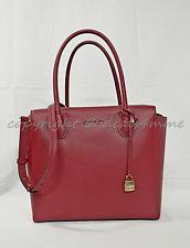 NWT Michael Kors Studio Mercer Large Leather Satchel/ Shoulder Bag in Cherry Red