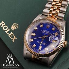 Blue Face Men's Rolex 36mm Datejust 18K & SS 8+2 Diamond Accent Jubilee Watch