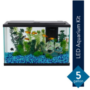 Aqua Culture 5-Gallon Fish Tank LED Aquarium Fish Pet Starter Kit Home Decor