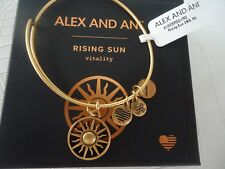 Alex and Ani RISING SUN Bangle Bracelet Russian Gold New W/Tag Card & Box
