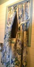 "Blue Flower Floral Bathroom Window Treatments 2 Panels & tie backs 33"" by 50"" ea"