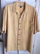 TOMMY BAHAMA Solid Yellow 100% Silk Mens Hawaiian Camp Aloha Shirt - L