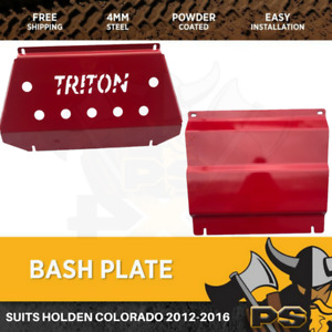 Bash Plate 4mm 2pcs Powder Coated Red to suit Mitsubishi Triton MQ Sump Guard