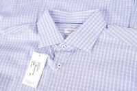 NWT Taccaliti Size US 17 43 Casual Dress Shirt Made in Italy Brown Blue White
