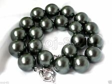 RARE HUGE 14mm Genuine Black South Sea Shell Pearl Round Beads Necklace 18'' AAA