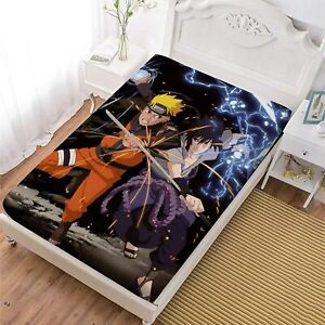 Naruto0 Deep Pocket Fitted Sheet Set 3PCS Bed Sheet Pillowcases Mattress Cover