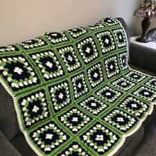 "Handmade Crocheted Afghan Throw Lap Sofa 52""x46"" Navy Lime Green Granny Squares"