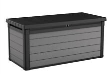 Keter Premier 150 Gallon Deck Box, Resin Outdoor Storage Box, Black and Gray Wo