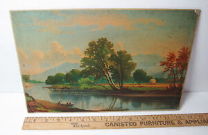 RARE Original Lg Chromolithograph Print - Saco River NH - ca 1870s Litho