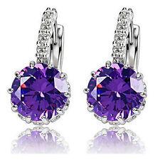 silver Plated Set Purple cubic zirconia Amethyst Lady Stud Hoop Earrings