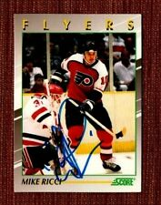 Mike Ricci AUTO 1991-92 Score Young Superstars #10 Flyers Hockey Card JSA AH LOA