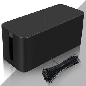 Kabelbox Schwarz Schreibtisch Netzteile Kabel Box M/L Kabelmanagement Stecker