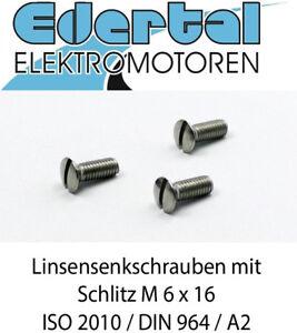 Linsensenkschraube ISO 2010, DIN 964, mit Schlitz, M6 x 16, A2, Edelstahl