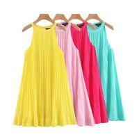 Four Colors Solid Mini Dress Womens Sleeveless Spaghetti Straps Pleated Halter C
