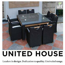 Outdoor Wicker Square Dining Table And Chairs 8 Seater Rattan Cane Furniture Set