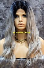 Hand Tied Monofilament Lace Front Full Wig Long Ombré Black Blue Gray Heat Ok