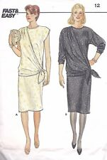 Vintage Women's Gathered  Wrap Side Tie Sheath Dress Sewing Pattern UNCUT Ruched