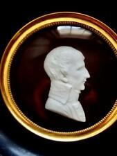 Antique French Bisque Porcelain Young Napoleon Portrait Cameo Miniature Framed