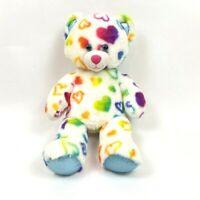 Build a Bear White Teddy Bear with Coloured Hearts