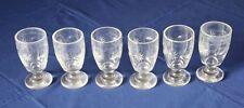 6 vasos de vino de vidrio cristal Biedermeier mundgeblasen 19.j. estrella círculo Antik Luna