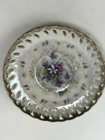 Vintage Lefton China Hand Painted Violet Chintz Plate Irridescent Gold Rim 6""