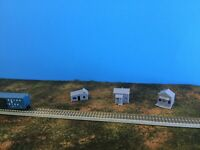 (3) Small ABANDONED HOUSES Run Down Building Set  Z Scale 1:220 Trackside Shanty