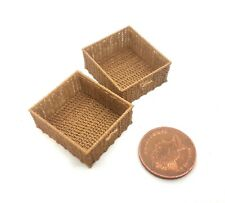 Dolls house Bespoke 1:12 scale pair of wicker baskets by BUSHBABY