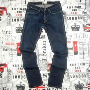 mens 29-30W 31L Acne Studios 'Max Soft Raw' Jeans Skinny Fit Blue Stretch Denim