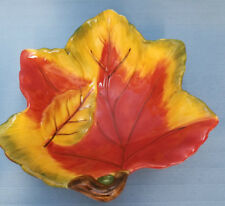 """Maple Leaf Art Pottery Candy Coin Dish Container Studio CKA  Fall Autumn 6"""""""