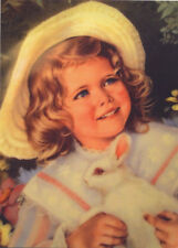 ART Sandra KUCK Kid Child Little Girl in Hat with White Bunny Modern Postcard #9