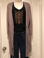 Free People Cardigan Sweater Small Brown Cotton Rayon Oversize  Deep V-Neck SDg