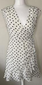 All Saints White Polka Dot Krystal Dot Sleeveless Wrap Dress Size S