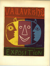 1959 Mini Poster Pablo Picasso Lithograph Exposition Vallauris ORIGINAL Print
