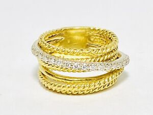 David Yurman 18K Two Tone Gold Diamond Crossover Collection Size 5.5 Ring 11g wk