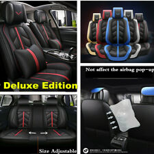 Black/Red Car Seat Cover Full Set Luxury Leather Front&Rear Seat Back Protector