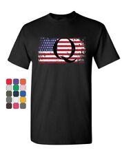 Q on Stars and Stripes T-Shirt QANON WWG1WGA American Patriot Mens Tee Shirt