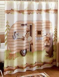 Woodsy Retro Happy Camper Fabric Shower Curtain Bathroom Bear Moose Raccoon