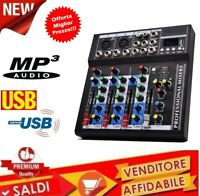 Mixer Console 4 Canali PROFESSIONALE Microfono USB MP3 PIANOBAR DJ KARAOKE F4USB
