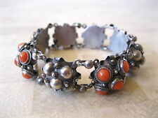 ANTIQUE ITALIAN ETRUSCAN REVIVAL 800 SILVER NATURAL CORAL BRACELET ITALY SIGNED