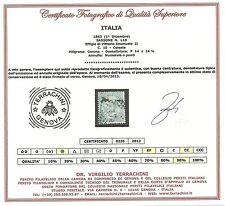 Regno 1863 - 15 c. De La Rue Annullo Numerale a Punti - Rarissimo - Certificato