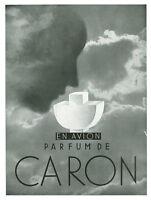 Publicité ancienne parfum de Caron en avion 1933 issue de magazine