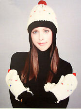 delux CupCake HAT & MITTENS SET knit ADULT costume LINED vanilla white cup cake