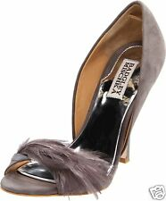 NIB Badgley Mischka Gisella d'orsay open toe suede feather  pump shoes GRAY 5,5