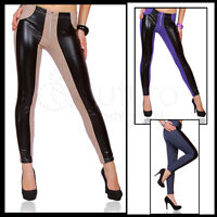 Sexy Shiny Wet Look & Cotton Multicolour Full Length Leggings with zipper!