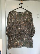 Scanlan & Theodore green silk top with ruffles in size SM