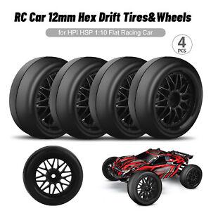 4Pcs Drift Tires&Wheels 12mm Hex Hub for HPI HSP 1:10 RC On Road Flat Racing Car