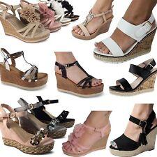 Damen Sandalen Sandaletten Keilabsatz Wedge Glitzer Nieten High Heels Neu  003 2283eef4fe